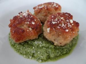 Meatballs with Spicy Jalapeño Pesto