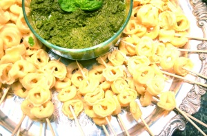 Cheese Tortellini and Jalapeño Pesto Dippers